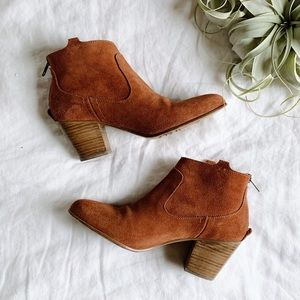 Anthropologie Hakei Suede Ankle Boots Orange 37